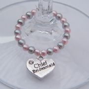 Chief Bridesmaid Wine Glass Charm - Full Bead Style